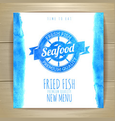 Seafood menu design with fish Document template vector image