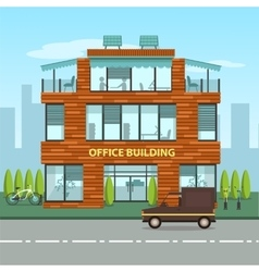 Modern office building in cartoon flat style vector