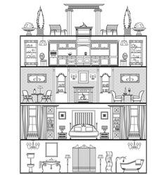 House interior silhouette vector