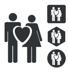 Love couple icon set monochrome vector image