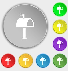 Mailbox icon sign symbols on eight flat buttons vector