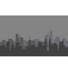 Silhouette of city with a fog vector