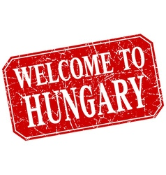Welcome to hungary red square grunge stamp vector