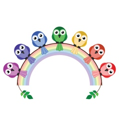 Rainbow birds vector