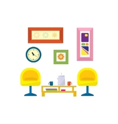 Modern style living room furniture vector