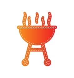 Barbecue simple sign orange applique isolated vector
