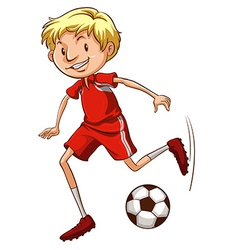 An energetic soccer player vector