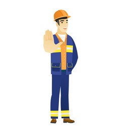 Asian builder showing palm hand vector