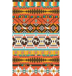 Aztecs seamless pattern on hot color with bird vector image