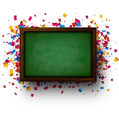 Background with blackboard and confetti vector image