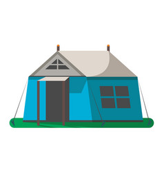 Blue hiking tent icon isolated vector