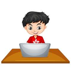 Boy using computer on the table vector