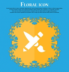 Brush icon sign floral flat design on a blue vector