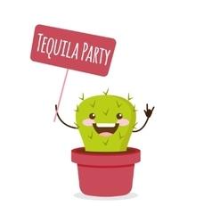 cartoon cactus Tequila party vector image