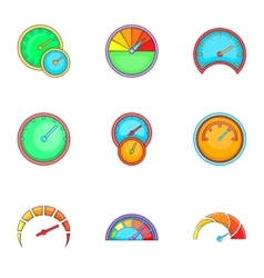 Circular gauge icons set cartoon style vector image vector image