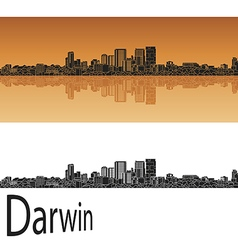 Darwin skyline in orange vector image vector image