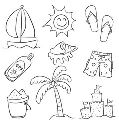 Doodle of summer equipment collection vector