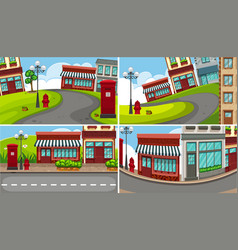 four scenes of town with many buildings vector image