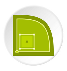 green baseball field icon circle vector image