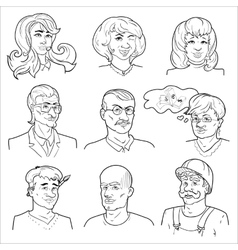 Hand drawn avatars set vector