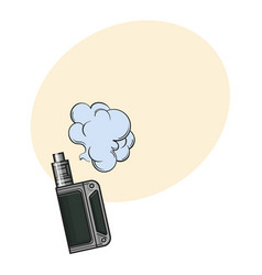 hand drawn vape vaping device with smoke cloud vector image vector image