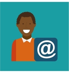 Man afroamerican using laptop mail media icon vector