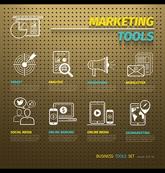 Marketing Tools on Brown Pegboard vector image vector image