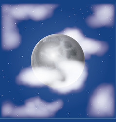 Nightly moonlight scene background with clouds and vector