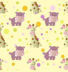 Pattern with cartoon cute baby behemoth giraffe vector