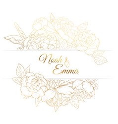Peony rose flowers frame golden wedding invitation vector