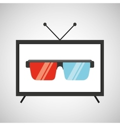 screen tv movie glasses 3d vector image