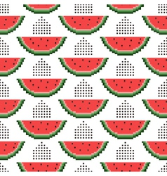 Seamless pattern of pixel watermelons vector