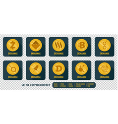 set of different icons exchange cryptocurrency vector image