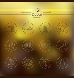 set of dubai icons vector image vector image