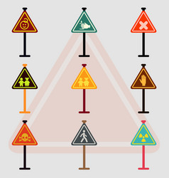 Warning road signs collection set of traffic vector