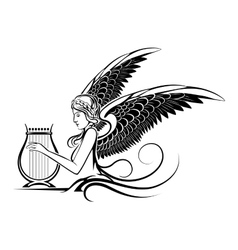 Winged greek muse vector