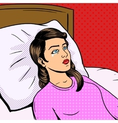 Woman cry on bed pop art style vector image