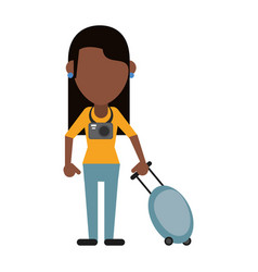 Woman tourist with camera and suitcase vector