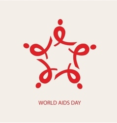 WORLD AIDS DAY AIDS ribbon arranged as a star vector image vector image
