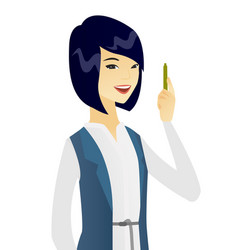 Young asian smiling business woman with a pen vector