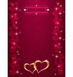 Bright valentine s day background with golden vector