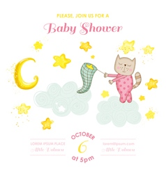 Baby shower or arrival card - baby cat girl vector