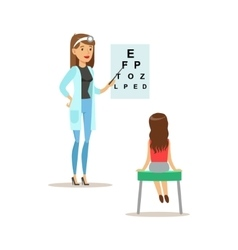 Girl on medical eyesight check-up with female vector