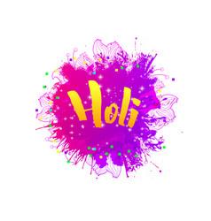 Holi holiday greeting emblem vector