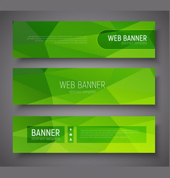 Set of banners with green abstract polygonal vector