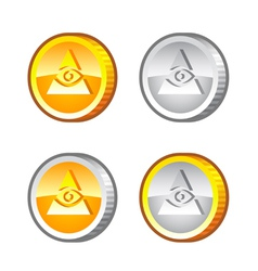Coins with eye vector