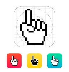 One finger pixel hand cursor icon vector