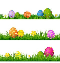 Big green grass set with flowers and easter eggs vector