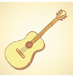Sketch guitar musical instrument in vintage style vector