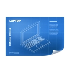 Technical with laptop drawing vector